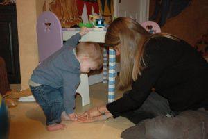 annie working with child